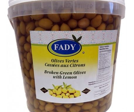 Olives vertes cassées au citron
