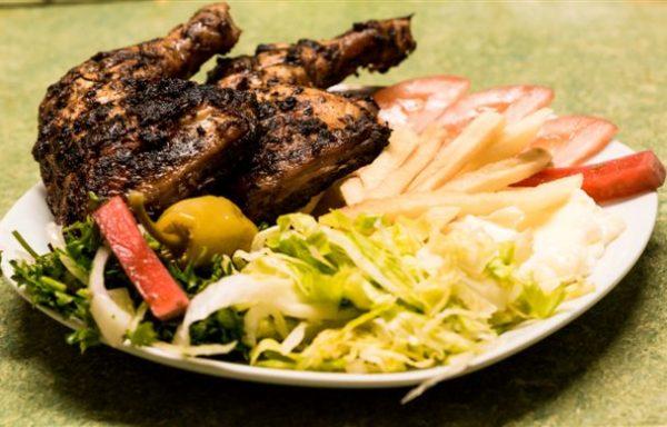 Assiette poulet mariné demi en cuisses